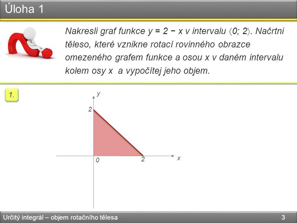 Úloha 1 Určitý integrál – objem rotačního tělesa 3 Nakresli graf funkce y = 2 − x v intervalu  0; 2 . Načrtni těleso, které vznikne rotací rovinného
