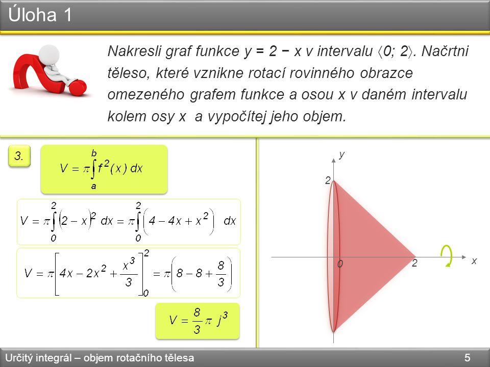 Úloha 1 Určitý integrál – objem rotačního tělesa 5 Nakresli graf funkce y = 2 − x v intervalu  0; 2 . Načrtni těleso, které vznikne rotací rovinného