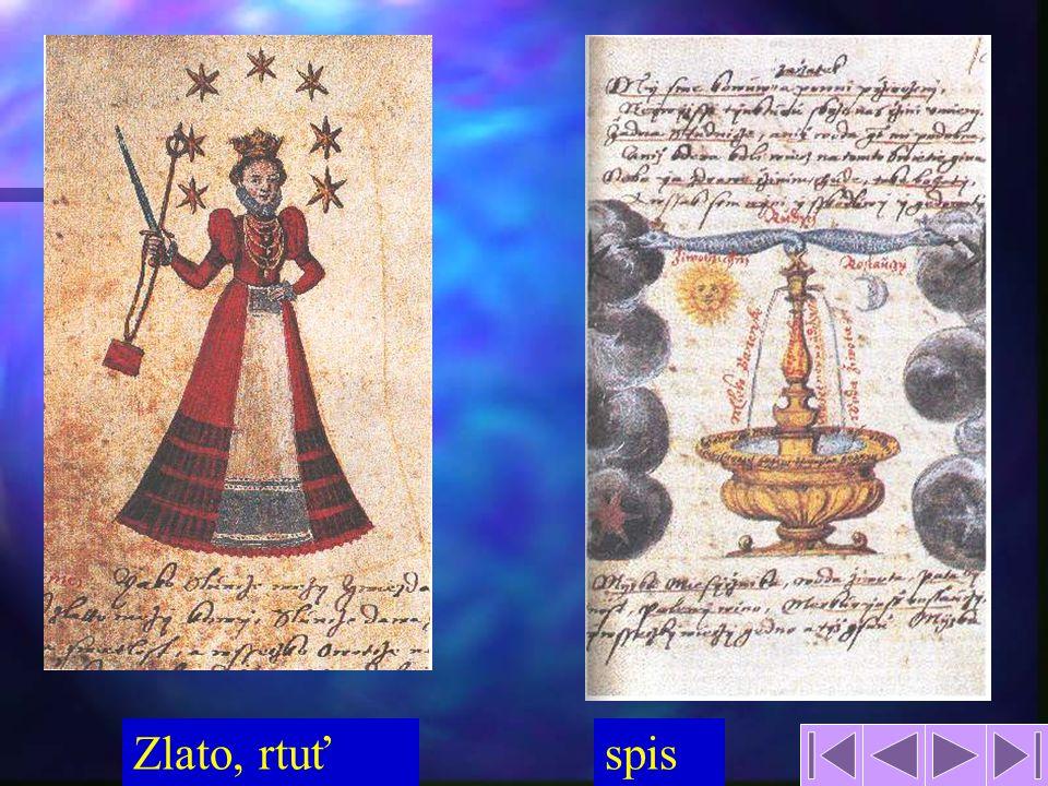 14 název alchymie podle arabského názvu rozvoj nového vědění podle různých alchymistických škol mnoho podvodníků a šarlatánů v Čechách největší rozkvět za Rudolfa II.