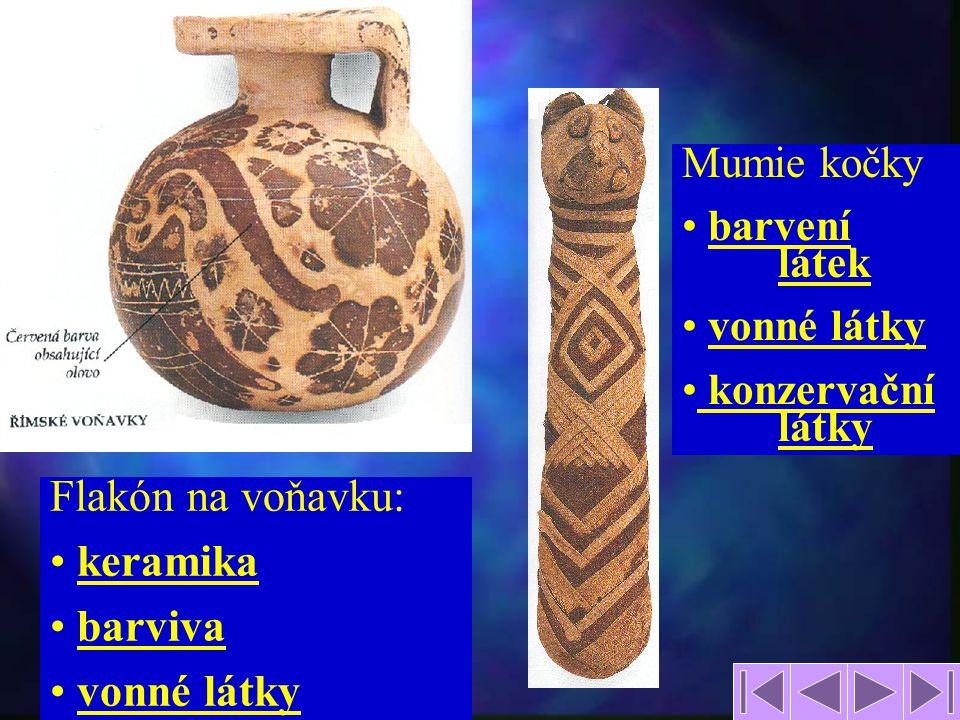 5 Flakón na voňavku: keramika barviva vonné látky Mumie kočky barvení látek vonné látky konzervační látky