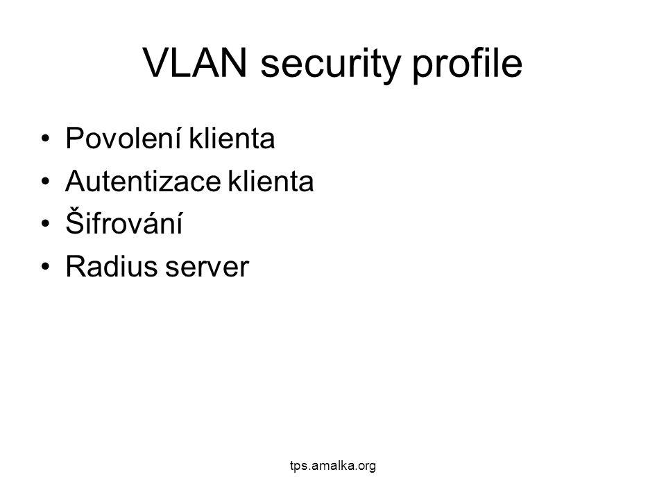tps.amalka.org VLAN security profile Povolení klienta Autentizace klienta Šifrování Radius server