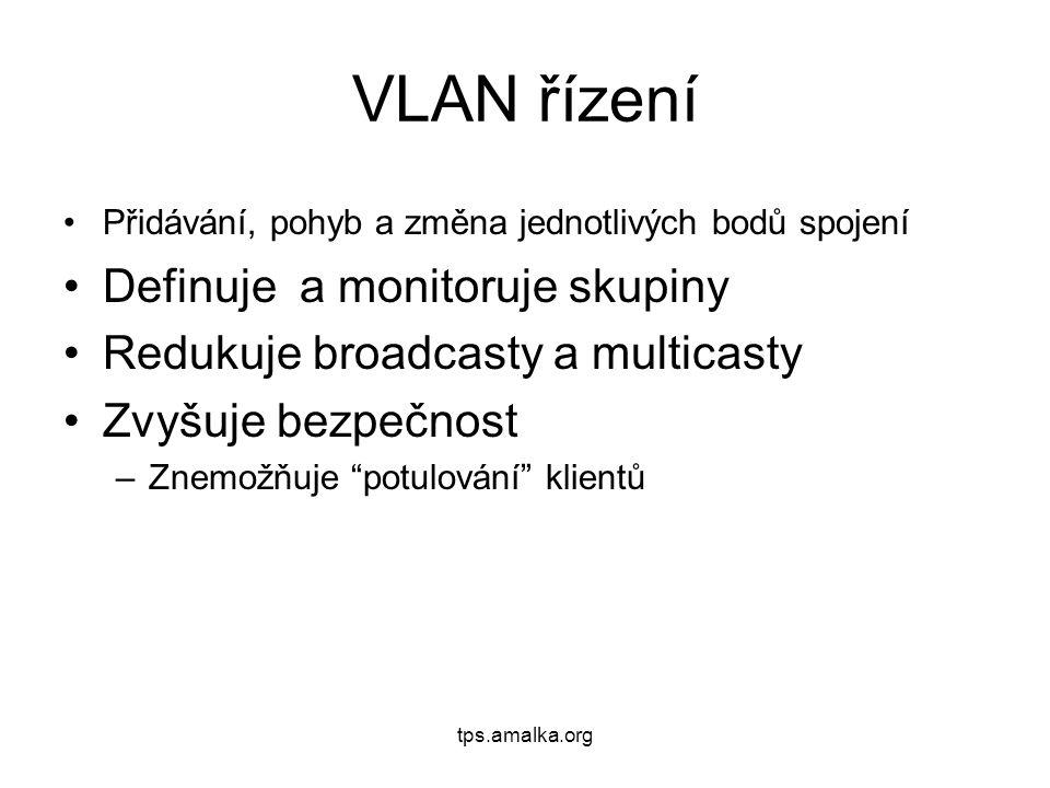 VLAN řízení Přidávání, pohyb a změna jednotlivých bodů spojení Definuje a monitoruje skupiny Redukuje broadcasty a multicasty Zvyšuje bezpečnost –Znemožňuje potulování klientů