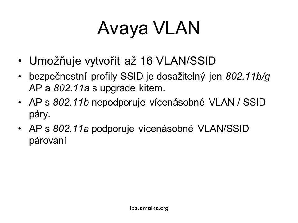 tps.amalka.org Avaya VLAN Umožňuje vytvořit až 16 VLAN/SSID bezpečnostní profily SSID je dosažitelný jen 802.11b/g AP a 802.11a s upgrade kitem. AP s