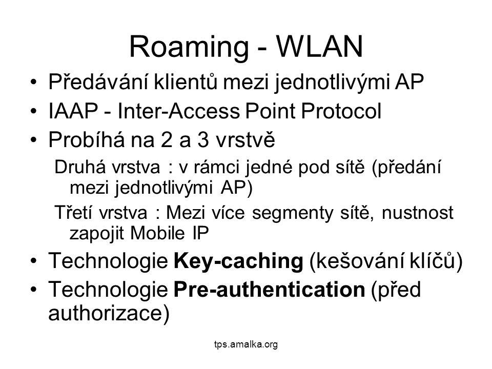 tps.amalka.org Roaming - WLAN Předávání klientů mezi jednotlivými AP IAAP - Inter-Access Point Protocol Probíhá na 2 a 3 vrstvě Druhá vrstva : v rámci jedné pod sítě (předání mezi jednotlivými AP) Třetí vrstva : Mezi více segmenty sítě, nustnost zapojit Mobile IP Technologie Key-caching (kešování klíčů) Technologie Pre-authentication (před authorizace)