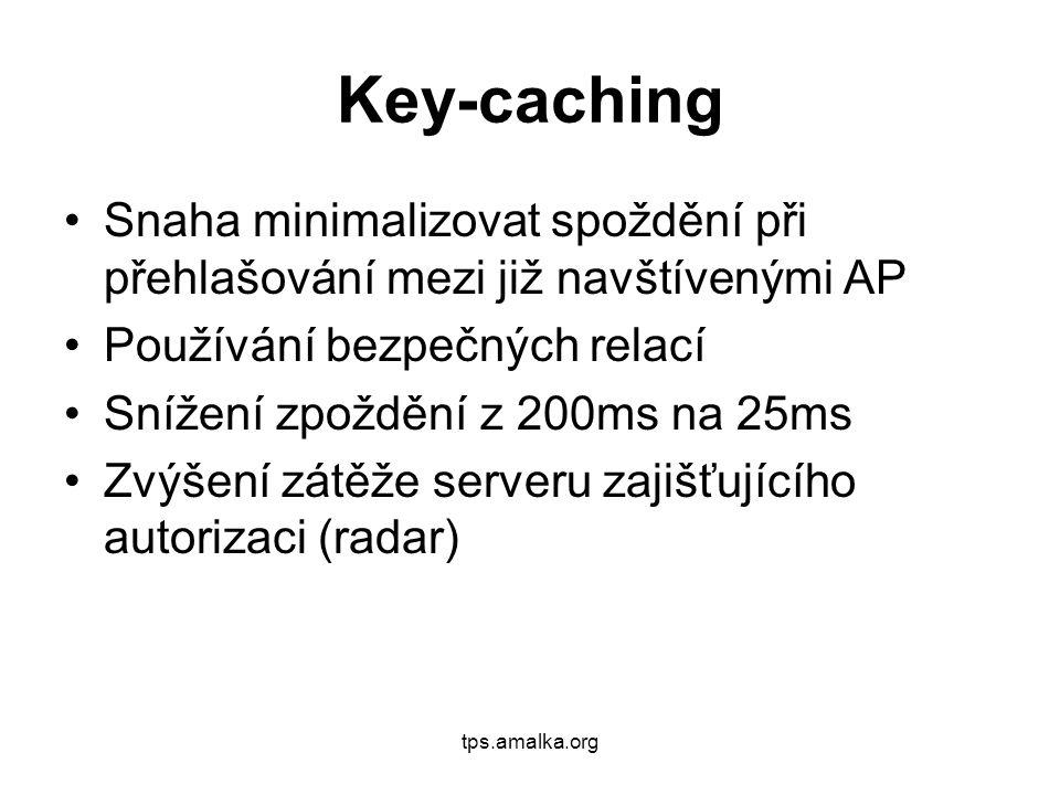 Key-caching Snaha minimalizovat spoždění při přehlašování mezi již navštívenými AP Používání bezpečných relací Snížení zpoždění z 200ms na 25ms Zvýšení zátěže serveru zajišťujícího autorizaci (radar)