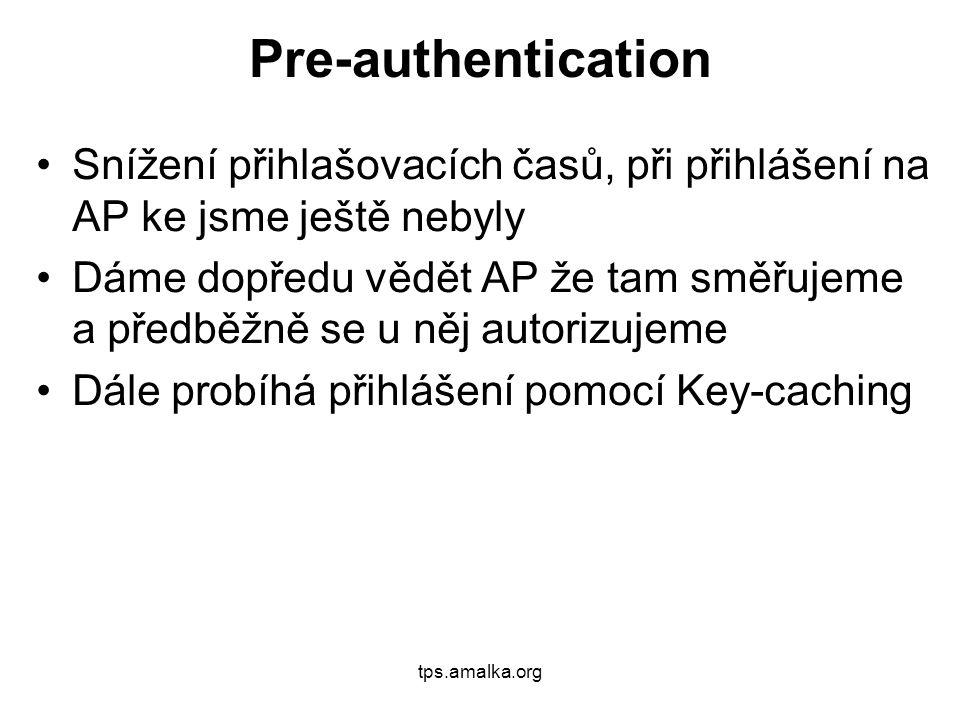 tps.amalka.org Pre-authentication Snížení přihlašovacích časů, při přihlášení na AP ke jsme ještě nebyly Dáme dopředu vědět AP že tam směřujeme a předběžně se u něj autorizujeme Dále probíhá přihlášení pomocí Key-caching