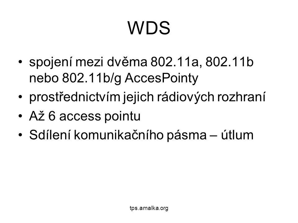 WDS spojení mezi dvěma 802.11a, 802.11b nebo 802.11b/g AccesPointy prostřednictvím jejich rádiových rozhraní Až 6 access pointu Sdílení komunikačního pásma – útlum