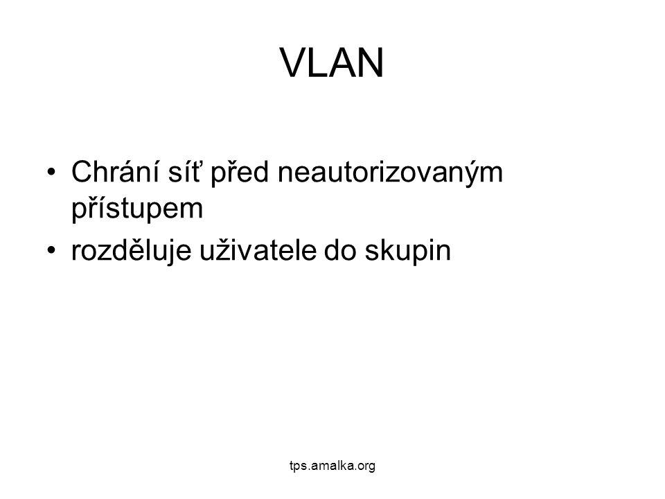 tps.amalka.org VLAN Chrání síť před neautorizovaným přístupem rozděluje uživatele do skupin