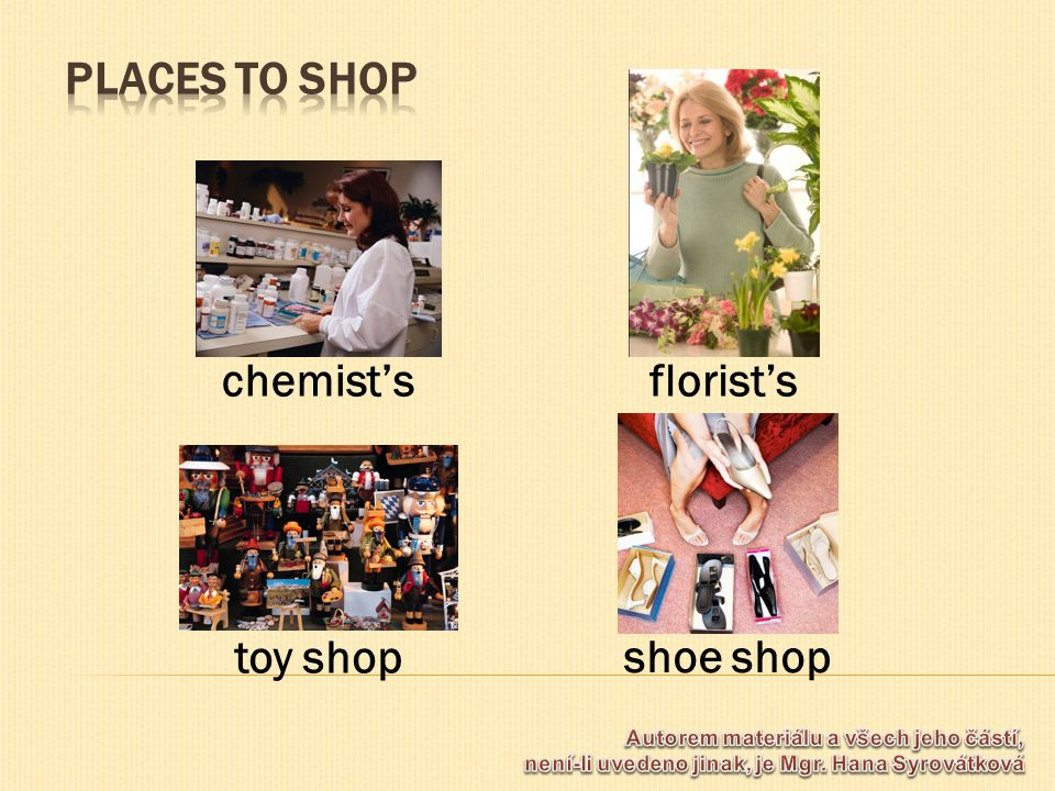 florist's toy shop shoe shop chemist's