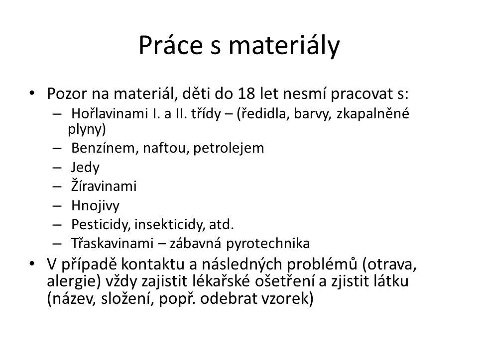 Práce s materiály Pozor na materiál, děti do 18 let nesmí pracovat s: – Hořlavinami I.