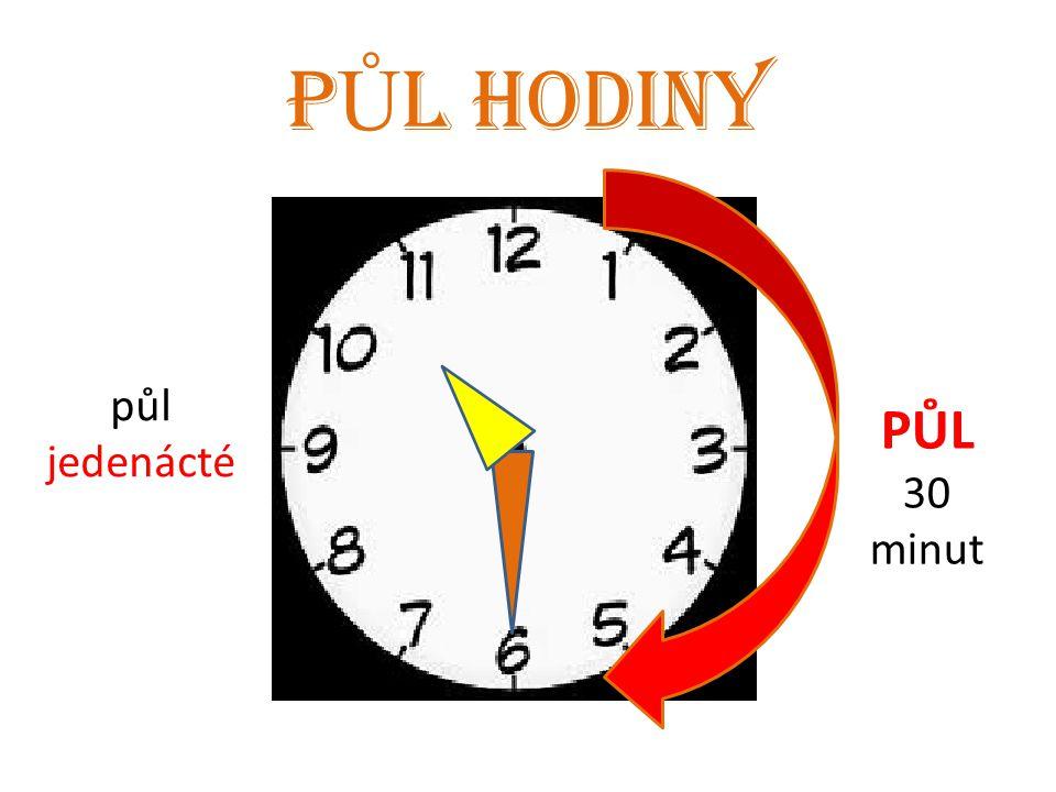 P Ů L HODINY PŮL 30 minut půl jedenácté