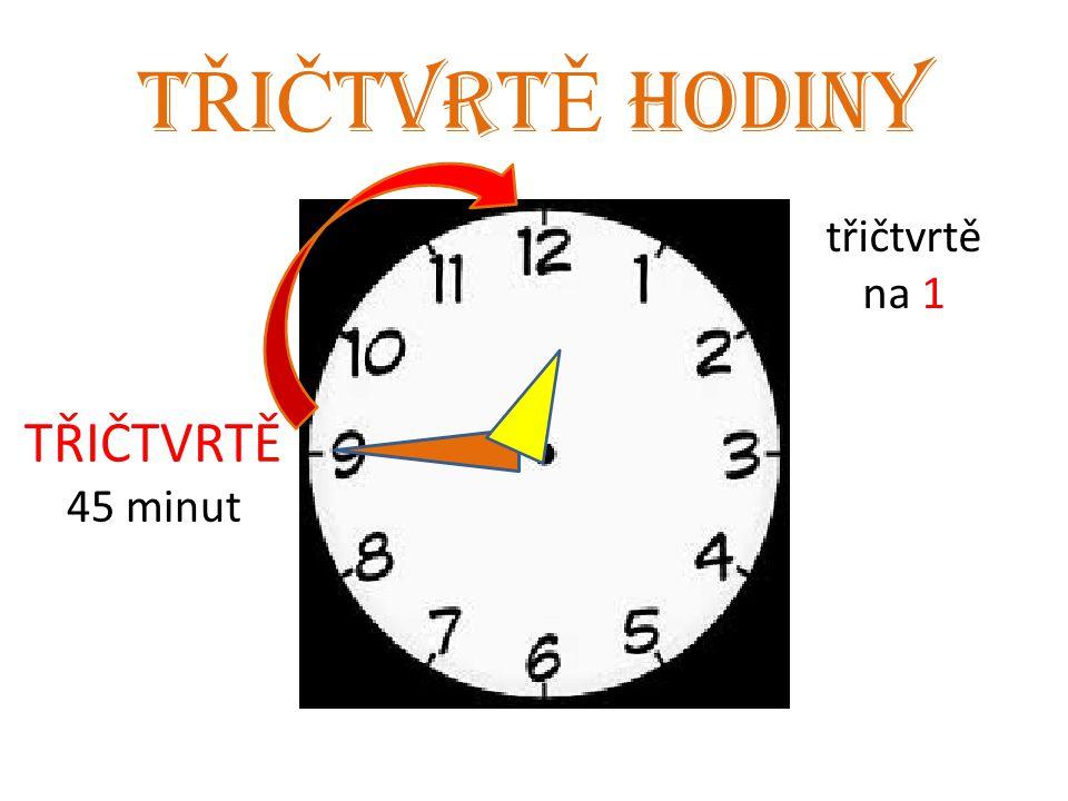 T Ř I Č TVRT Ě HODINY TŘIČTVRTĚ 45 minut třičtvrtě na 1