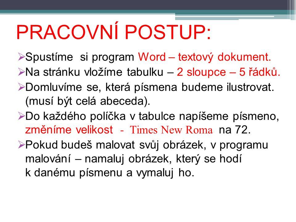 PRACOVNÍ POSTUP:  Spustíme si program Word – textový dokument.  Na stránku vložíme tabulku – 2 sloupce – 5 řádků.  Domluvíme se, která písmena bude