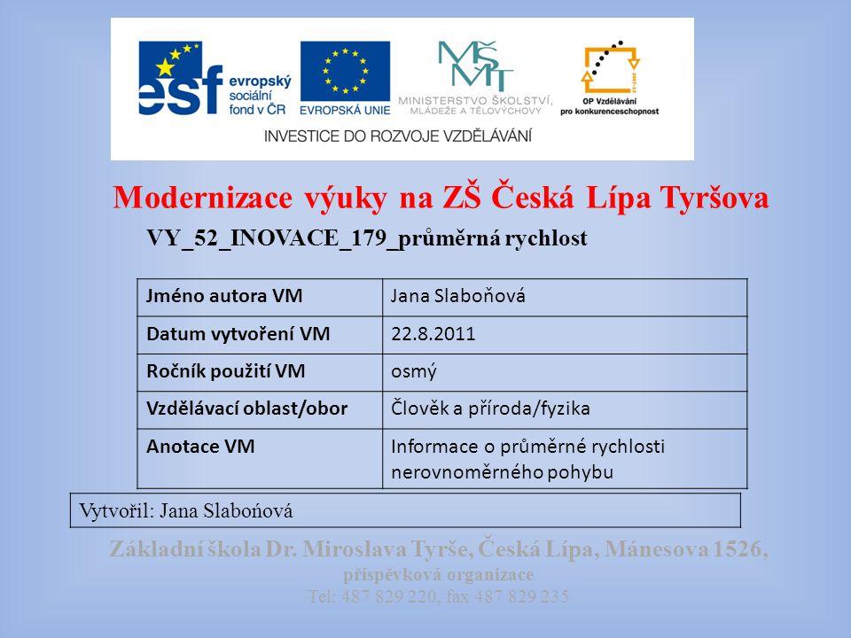 Modernizace výuky na ZŠ Česká Lípa Tyršova VY_52_INOVACE_179_průměrná rychlost Vytvořil: Jana Slabońová Základní škola Dr.