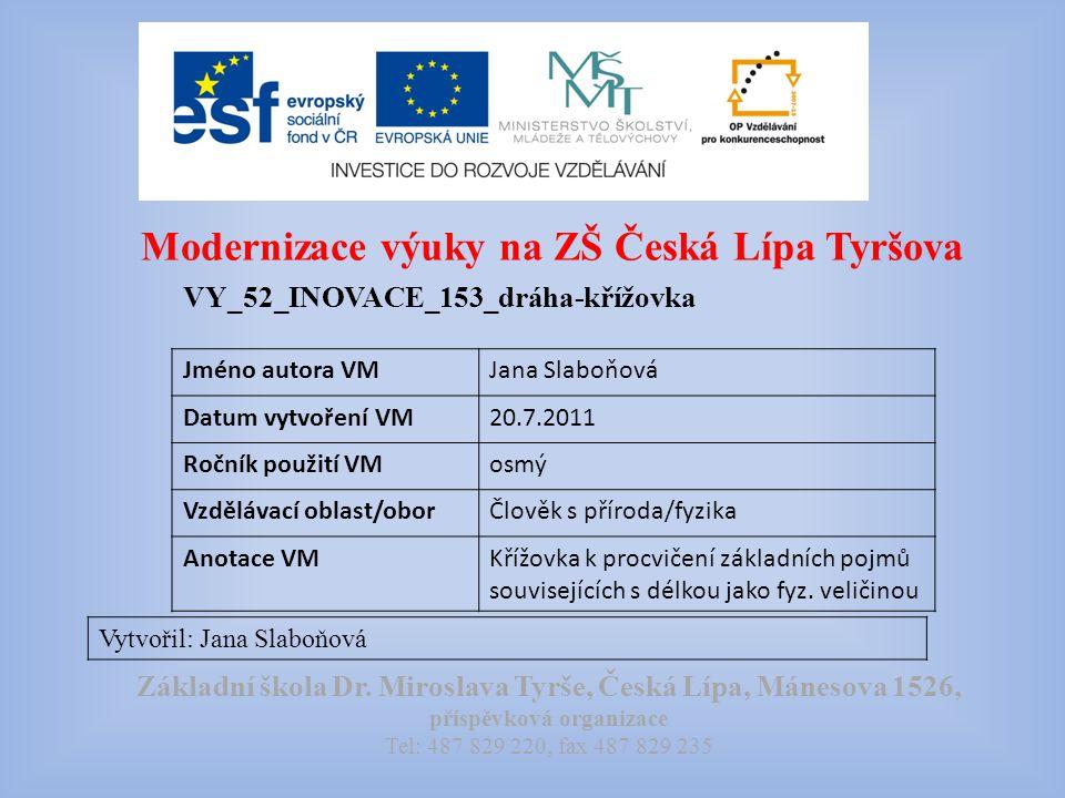 Modernizace výuky na ZŠ Česká Lípa Tyršova VY_52_INOVACE_153_dráha-křížovka Vytvořil: Jana Slaboňová Základní škola Dr.