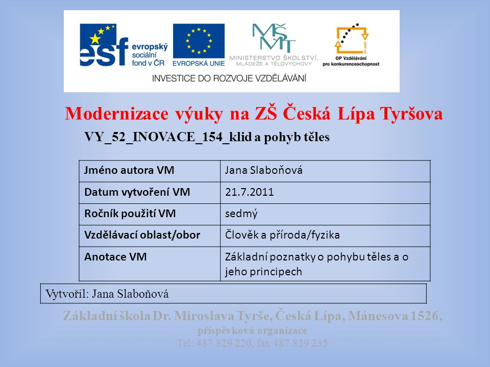 Modernizace výuky na ZŠ Česká Lípa Tyršova VY_52_INOVACE_154_klid a pohyb těles Vytvořil: Jana Slaboňová Základní škola Dr.