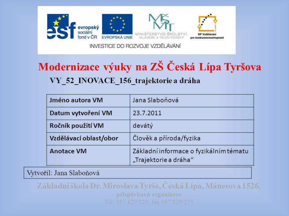 Modernizace výuky na ZŠ Česká Lípa Tyršova VY_52_INOVACE_156_trajektorie a dráha Vytvořil: Jana Slaboňová Základní škola Dr.