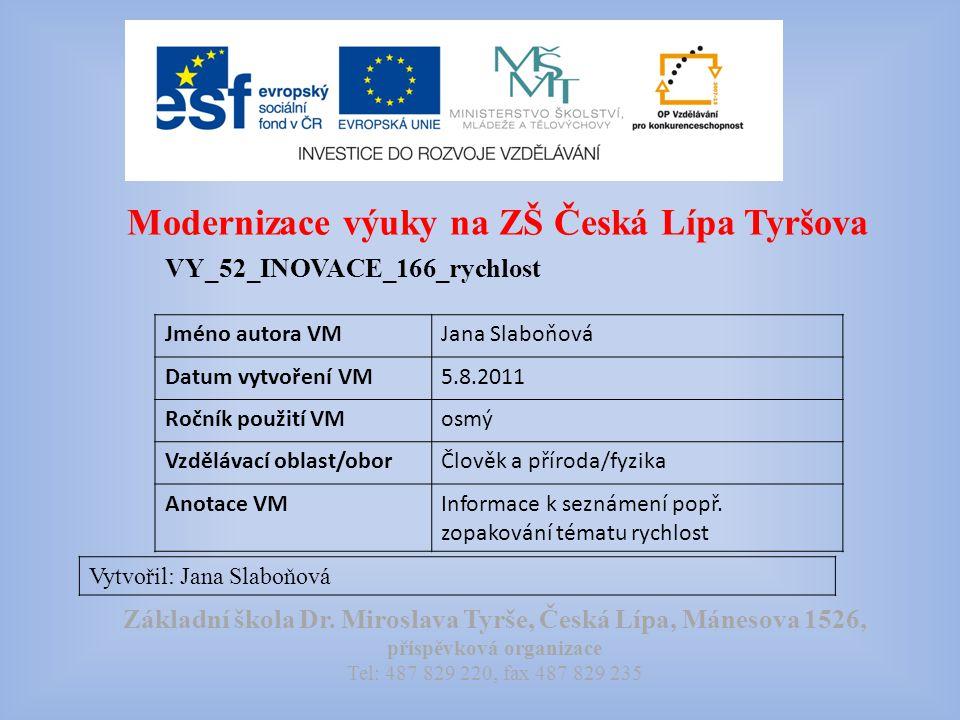 Modernizace výuky na ZŠ Česká Lípa Tyršova VY_52_INOVACE_166_rychlost Vytvořil: Jana Slaboňová Základní škola Dr.