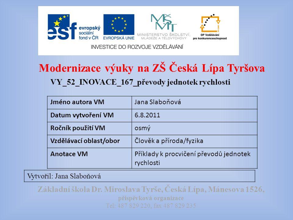 Modernizace výuky na ZŠ Česká Lípa Tyršova VY_52_INOVACE_167_převody jednotek rychlosti Vytvořil: Jana Slaboňová Základní škola Dr.