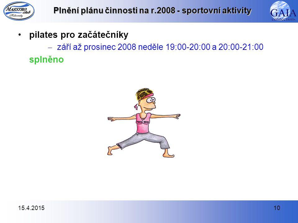 15.4.201510 Plnění plánu činnosti na r.2008 - sportovní aktivity pilates pro začátečníky  září až prosinec 2008 neděle 19:00-20:00 a 20:00-21:00 splněno