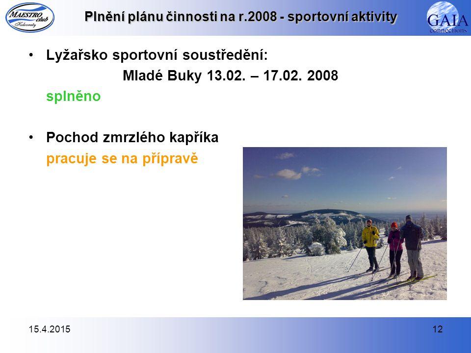 15.4.201512 Plnění plánu činnosti na r.2008 - sportovní aktivity Lyžařsko sportovní soustředění: Mladé Buky 13.02.