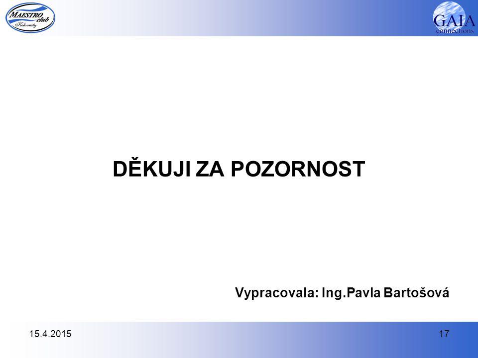 15.4.201517 DĚKUJI ZA POZORNOST Vypracovala: Ing.Pavla Bartošová