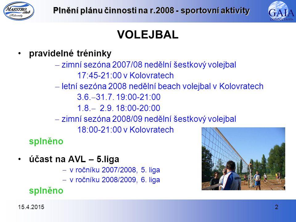 15.4.20152 Plnění plánu činnosti na r.2008 - sportovní aktivity VOLEJBAL pravidelné tréninky  zimní sezóna 2007/08 nedělní šestkový volejbal 17:45-21:00 v Kolovratech  letní sezóna 2008 nedělní beach volejbal v Kolovratech 3.6.