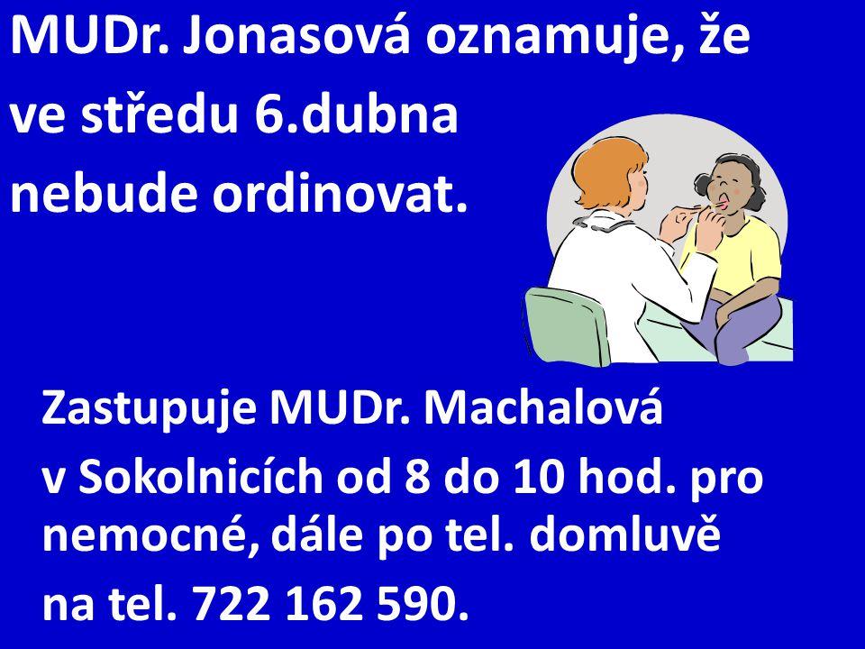 MUDr. Jonasová oznamuje, že ve středu 6.dubna nebude ordinovat. Zastupuje MUDr. Machalová v Sokolnicích od 8 do 10 hod. pro nemocné, dále po tel. doml