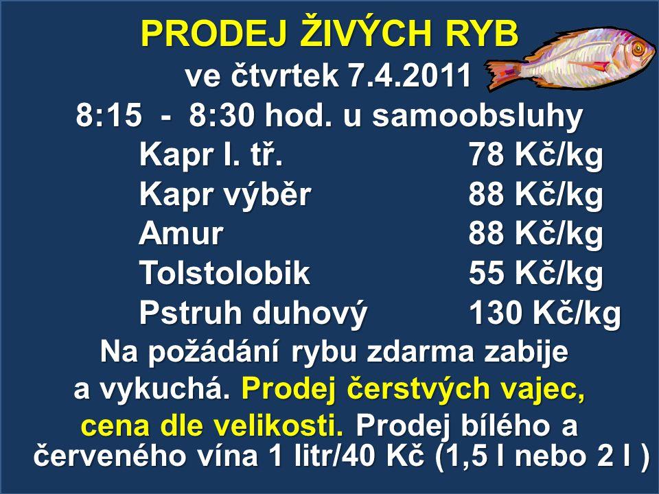 PRODEJ ŽIVÝCH RYB ve čtvrtek 7.4.2011 8:15 - 8:30 hod. u samoobsluhy Kapr I. tř. 78 Kč/kg Kapr výběr 88 Kč/kg Amur 88 Kč/kg Tolstolobik 55 Kč/kg Pstru