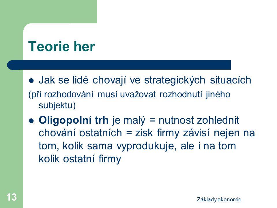 Základy ekonomie 13 Teorie her Jak se lidé chovají ve strategických situacích (při rozhodování musí uvažovat rozhodnutí jiného subjektu) Oligopolní tr