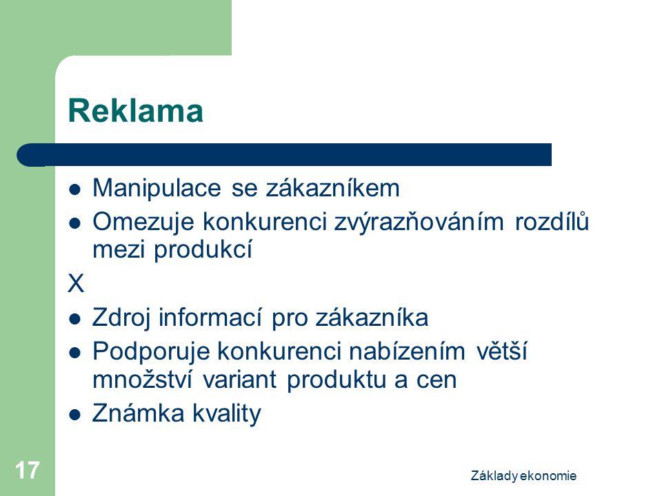 Základy ekonomie 17 Reklama Manipulace se zákazníkem Omezuje konkurenci zvýrazňováním rozdílů mezi produkcí X Zdroj informací pro zákazníka Podporuje