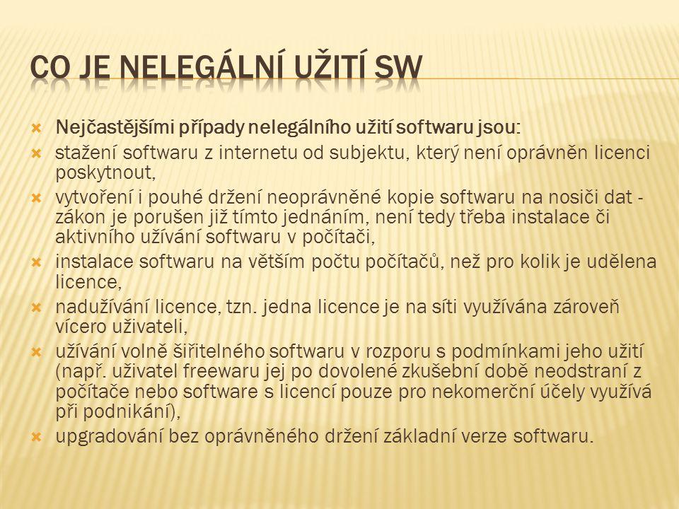  Nejčastějšími případy nelegálního užití softwaru jsou:  stažení softwaru z internetu od subjektu, který není oprávněn licenci poskytnout,  vytvoření i pouhé držení neoprávněné kopie softwaru na nosiči dat - zákon je porušen již tímto jednáním, není tedy třeba instalace či aktivního užívání softwaru v počítači,  instalace softwaru na větším počtu počítačů, než pro kolik je udělena licence,  nadužívání licence, tzn.