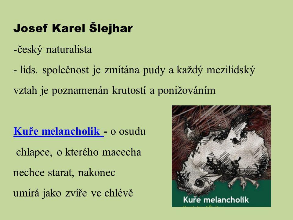 Josef Karel Šlejhar -český naturalista - lids. společnost je zmítána pudy a každý mezilidský vztah je poznamenán krutostí a ponižováním Kuře melanchol