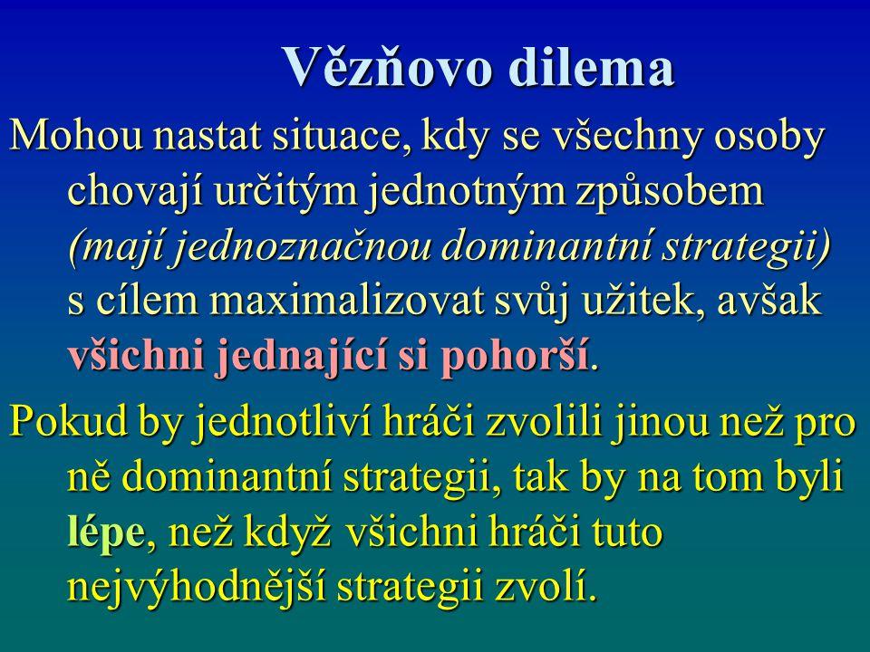 Vězňovo dilema Vězňovo dilema Mohou nastat situace, kdy se všechny osoby chovají určitým jednotným způsobem (mají jednoznačnou dominantní strategii) s