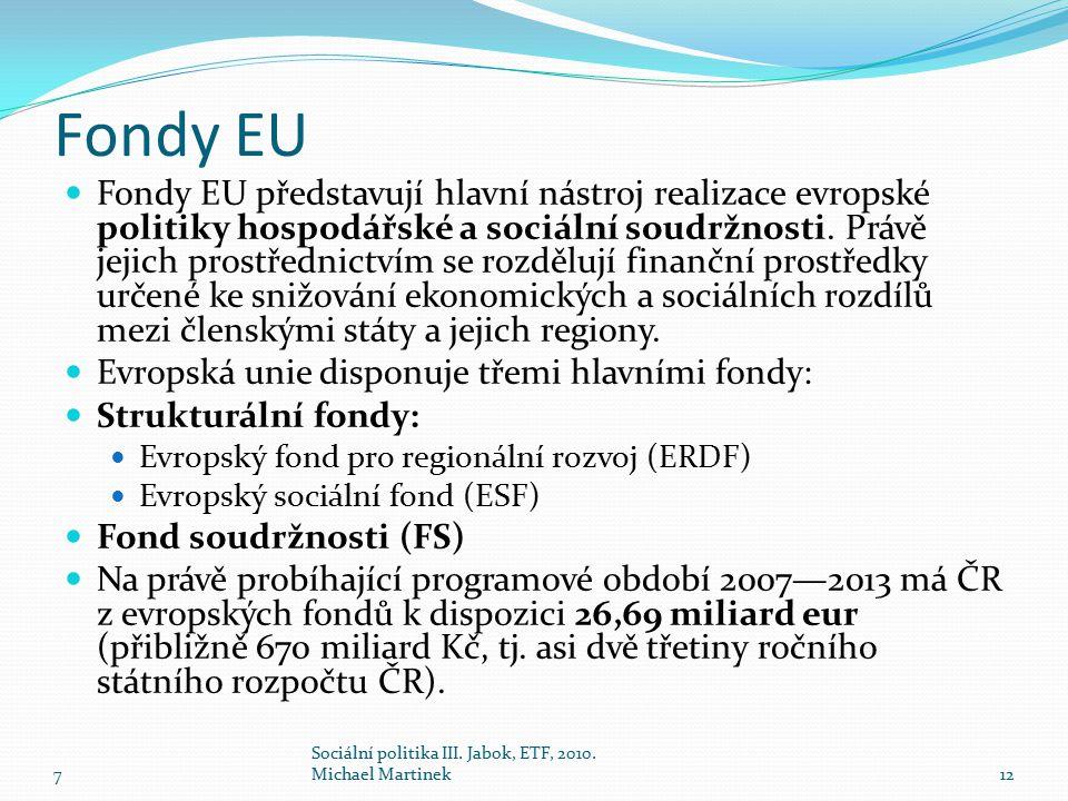 Fondy EU Fondy EU představují hlavní nástroj realizace evropské politiky hospodářské a sociální soudržnosti. Právě jejich prostřednictvím se rozdělují