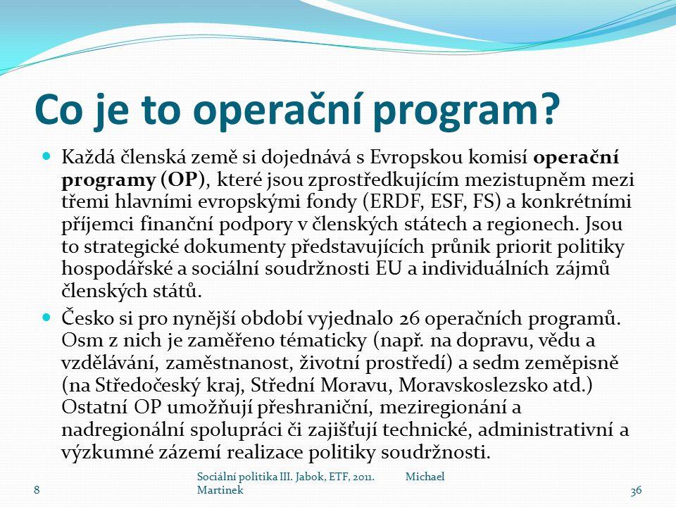 Co je to operační program? Každá členská země si dojednává s Evropskou komisí operační programy (OP), které jsou zprostředkujícím mezistupněm mezi tře