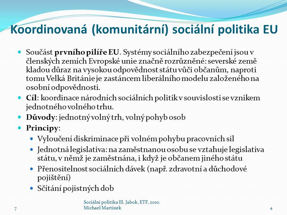 Koordinovaná (komunitární) sociální politika EU Součást prvního pilíře EU. Systémy sociálního zabezpečení jsou v členských zemích Evropské unie značně