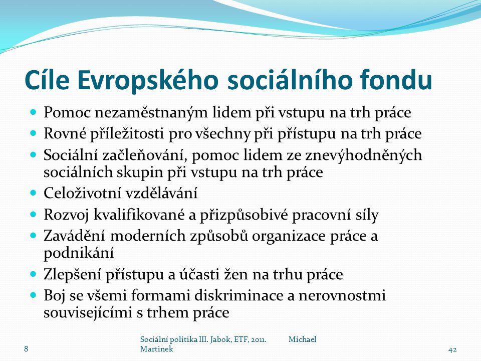 Cíle Evropského sociálního fondu Pomoc nezaměstnaným lidem při vstupu na trh práce Rovné příležitosti pro všechny při přístupu na trh práce Sociální začleňování, pomoc lidem ze znevýhodněných sociálních skupin při vstupu na trh práce Celoživotní vzdělávání Rozvoj kvalifikované a přizpůsobivé pracovní síly Zavádění moderních způsobů organizace práce a podnikání Zlepšení přístupu a účasti žen na trhu práce Boj se všemi formami diskriminace a nerovnostmi souvisejícími s trhem práce 8 Sociální politika III.