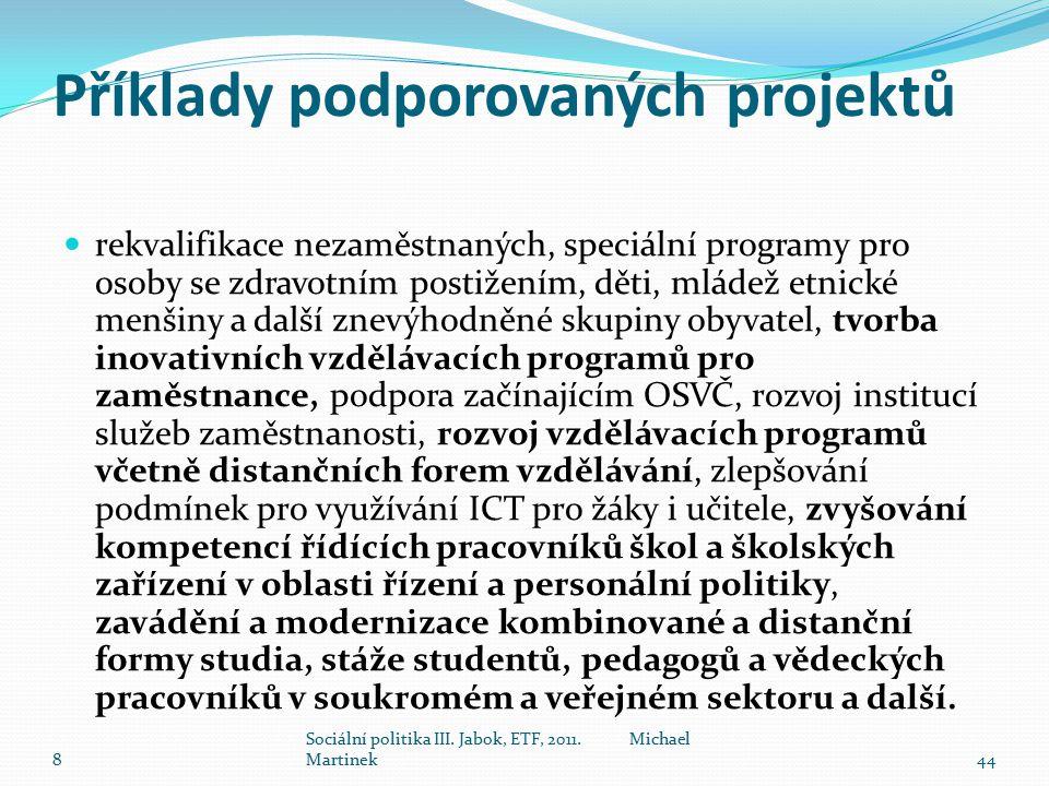 Příklady podporovaných projektů rekvalifikace nezaměstnaných, speciální programy pro osoby se zdravotním postižením, děti, mládež etnické menšiny a da