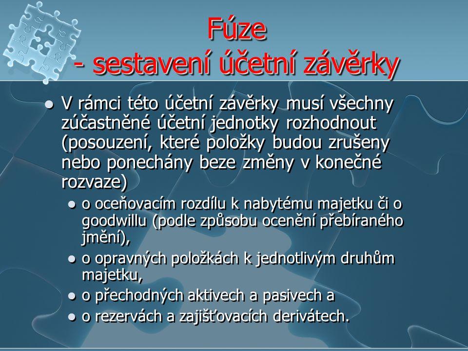 Fúze - sestavení účetní závěrky V rámci této účetní závěrky musí všechny zúčastněné účetní jednotky rozhodnout (posouzení, které položky budou zrušeny