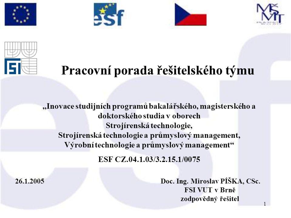 1 26.1.2005Doc. Ing. Miroslav PÍŠKA, CSc.