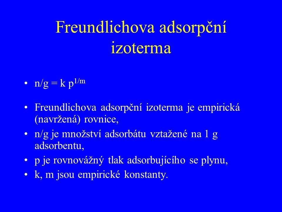 Freundlichova adsorpční izoterma n/g = k p 1/m Freundlichova adsorpční izoterma je empirická (navržená) rovnice, n/g je množství adsorbátu vztažené na