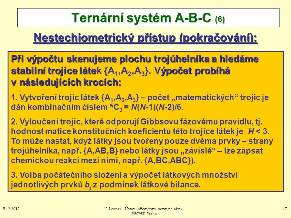 175.12.2012J. Leitner - Ústav inženýrství pevných látek, VŠCHT Praha Nestechiometrický přístup (pokračování): Ternární systém A-B-C (6) Při výpočtu sk