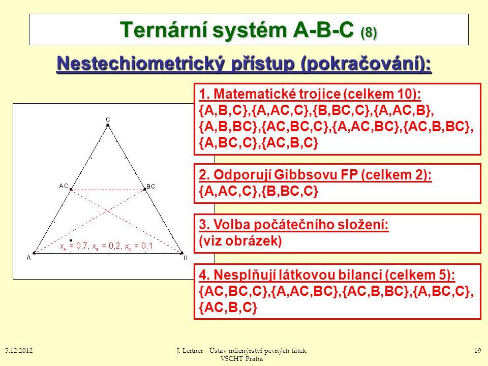 195.12.2012J. Leitner - Ústav inženýrství pevných látek, VŠCHT Praha Nestechiometrický přístup (pokračování): Ternární systém A-B-C (8) 1. Matematické