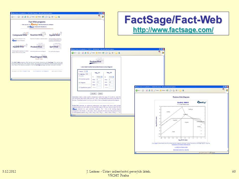605.12.2012J. Leitner - Ústav inženýrství pevných látek, VŠCHT Praha FactSage/Fact-Web http://www.factsage.com/ http://www.factsage.com/