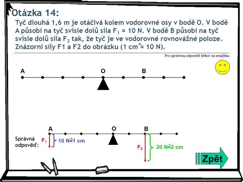 Otázka 15: Člověk o hmotnosti 60 kg udržuje těleso o hmotnosti 15 kg v rovnovážné poloze na laně vedeném přes pevnou kladku.