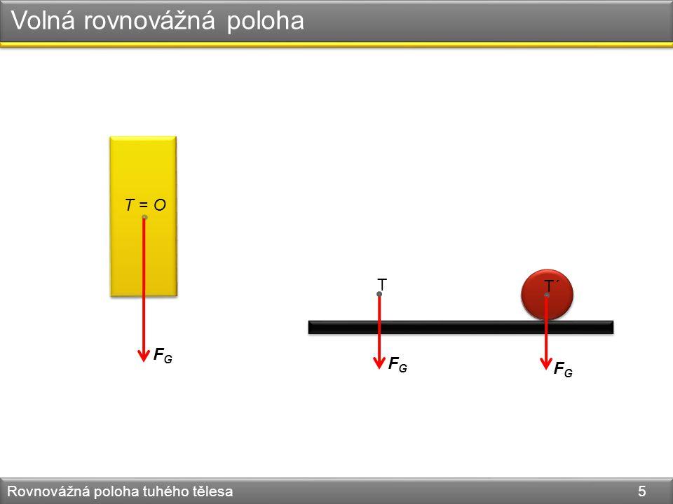 Rovnovážná poloha tuhého tělesa 5 Volná rovnovážná poloha T = O FGFG T´ FGFG T FGFG