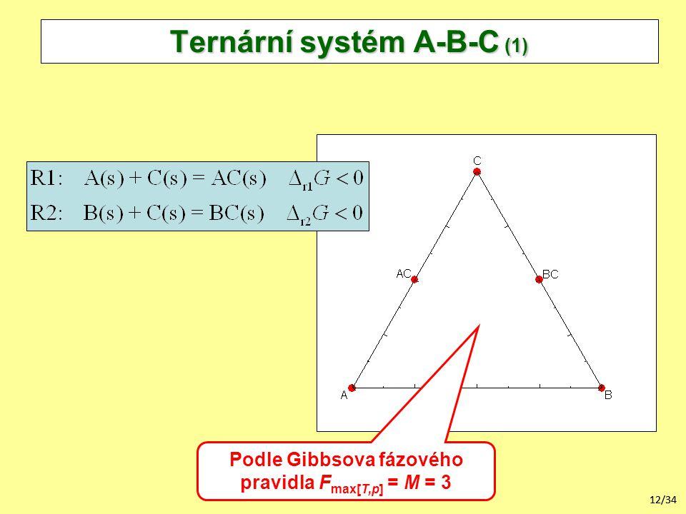 12/34 Ternární systém A-B-C (1) Podle Gibbsova fázového pravidla F max[T,p] = M = 3