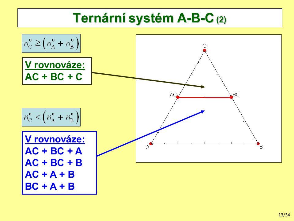 13/34 Ternární systém A-B-C (2) V rovnováze: AC + BC + A AC + BC + B AC + A + B BC + A + B V rovnováze: AC + BC + C