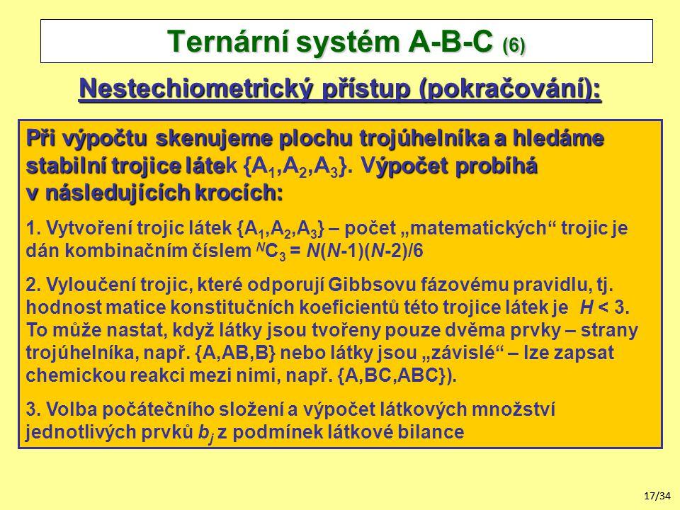 17/34 Nestechiometrický přístup (pokračování): Ternární systém A-B-C (6) Při výpočtu skenujeme plochu trojúhelníka a hledáme stabilní trojice láteýpočet probíhá Při výpočtu skenujeme plochu trojúhelníka a hledáme stabilní trojice látek {A 1,A 2,A 3 }.